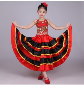 Spanish flamenco costume girlred flamenco style ballroom skirt for girls child black dance Skirts costumes for kids clothes