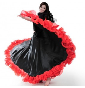 wine red Flamenco dance Spanish bull dance skirts women's female long length competition opening dancing bull dance ballroom dance skirts