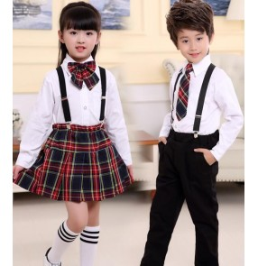 Children dance school uniforms boy's kids girl's children England style stage performance school chorus singers competition uniforms costumes