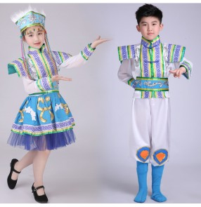 Girls children Mongolian folk dance costumes boy's kids children folk dancing stage performance party cosplay film dancing robes clothes outfits