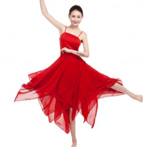White red black modern dance dresses women's female competition stage performance dancers strap ballet dancing dresses
