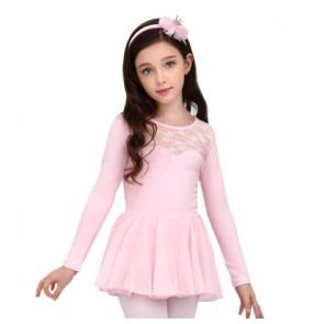 Light pink girls ballet dance dress kids children lace modern dance competition gymnastics performance ballet tutu skirt dance ballet dresses