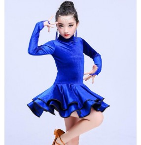Velvet girl's kids latin dance dresses competition stage performance salsa ballroom chacha dance dresses costumes