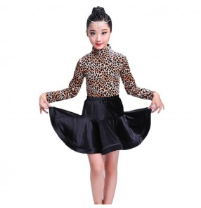 Girls leopard latin dress children kids competition stage performance ballroom salsa rumba latin dance dresses costume