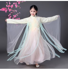 Girls ancient Chinese folk fairy han kimono dance dresses kids children anime film photos drama cosplay dancing costumes dresses