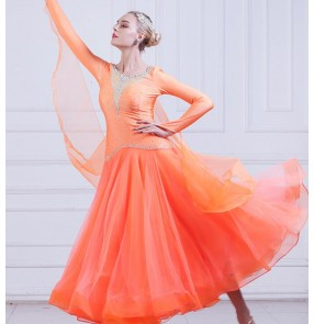 Competition women's  ballroom dancing dresses female lady stage performance hot pink orange stones ballroom tango waltz dancing dresses