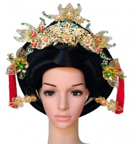 Tang ancient classical folk dancing film drama cosplay performance Empress Queen princess Hair headdress Set Hair Wig and Hair Accessory