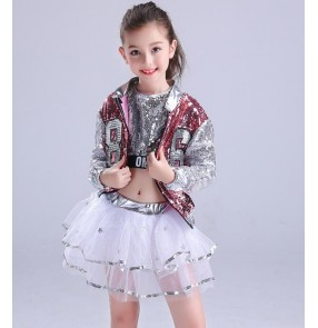 Sequined girls children modern dance hiphop jazz dance costumes children stage performance school competition dj ds dancing outfits costumes