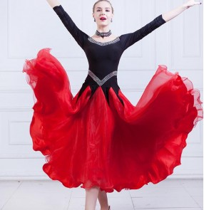 Red with black flamenco dresses women's female competition stage performance ballroom waltz tango dancing dresses costumes