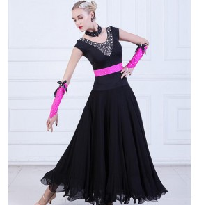 Women's black ballroom dresses female fuchsia diamond competition professional stage performance ballroom tango ballroom dancing dresses
