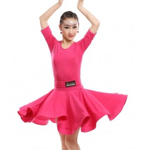 Girl's latin dresses children kids stage performance competition professional ballroom latin salsa cha cha dance dresses costumes