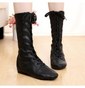 High PU Jazz Dance Boot Stage Dance Boots with cow leather sole Girls Children Women Black jazz dancing Performance Shoes