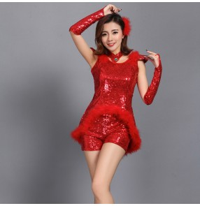 Sequined hiphop cheerleader jazz dance women's female competition stage performance hiphop dancers competition costumes outfits