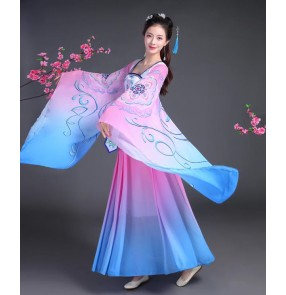 Blue pink gradient colored ancient folk dance dresses women's female competition fairy film anime Cosplay kimono dance costumes dresses