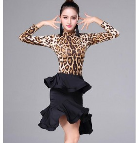 Floral leopard zebra latin dresses women's female competition performance salsa rumba chacha latin dresses