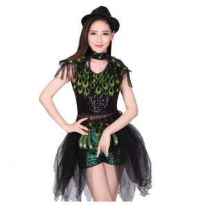 Sequined peacock jazz dance women's female competition cheerleader singers dancer hiphop dancing outfits costumes