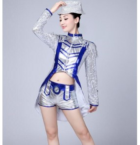 Blue silver jazz hiphop dance outfits women's female competition stage performance magician dancers cheer leaders dancing tuxedo tops and shorts
