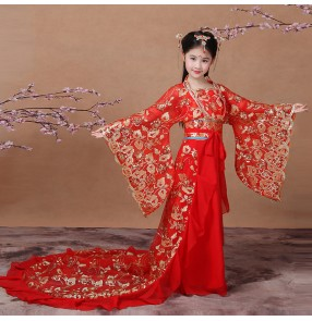 Girls red Chinese folk dance dresses children kids girl's ancient classical traditional princess children empress film cosplay dancing robes costumes