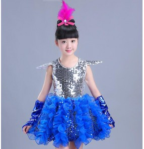 Modern dance Royal blue fuchsia feather girl's kids children stage performance competition sequined princess jazz singers dancers dancing dresses