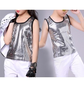 Boy Silver hiphop dance vests boy's kids children girls sequined drummer performance competition jazz singers dancing tops vests