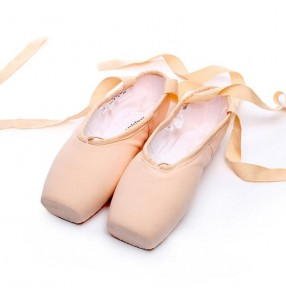 Women's canvas Pointe Toe ballet shoes professional competition gymnastics practice ballet dancing shoes with satin ribbon