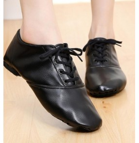 Women's Pu leather jazz dance shoes women's girls children exercises performance competition jazz hiphop modern dance shoes