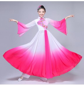 Fuchsia ancient China folk classical dance dresses women's female fairy pink white gradient color fairy yangko traditional fan dancing dresses costumes