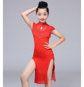 Red  girls latin dresses children kids stage performance competition salsa rumba chacha latin dance dresses cheongsam