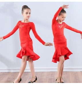 Lace girls latin dresses kids children ruffles skirt hem competition stage performance chacha rumba salsa dance dresses costumes