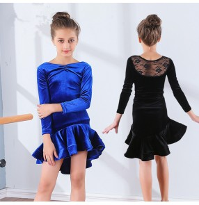 Girls latin dance dresses long sleeves velvet Children kids competition stage performance ballroom latin salsa rumba dance dresses