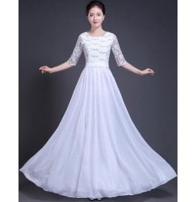 Women's modern dance white red female competition stage chorus group singers dancers performance team dancing dresses