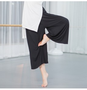 Women's modern dance pants female lady modal ballet yoga training dance grading competition swing wide leg gymnastics ankle length pants