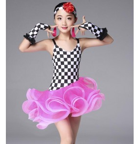 Girls competition latin dresses kids children stage performance professional salsa rumba chacha dance dresses costumes