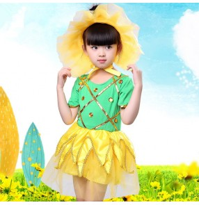 Girls modern dance dresses kids children jazz singers dancers stage performance competition sunflowers cosplay dancing outfits