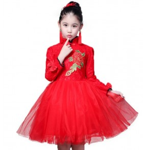 Red Girls traditional cheongsam dresses kid children singers chorus stage performance chorus princess wedding party flower girls dresses