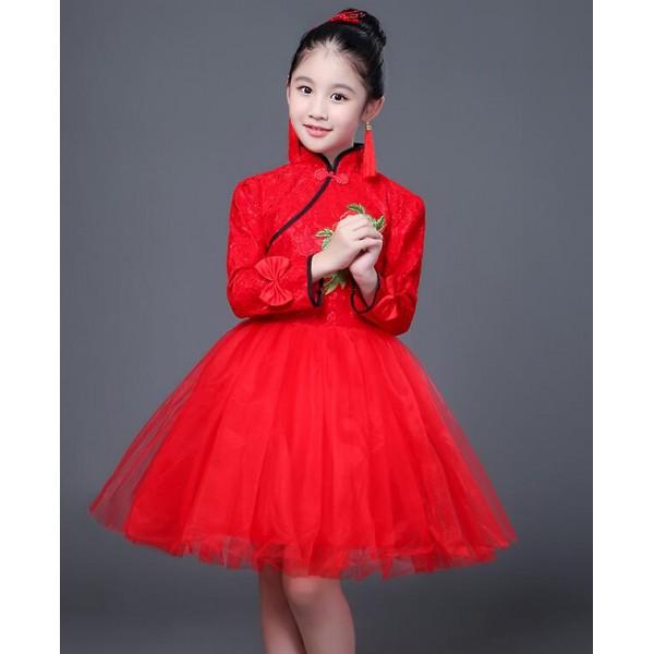 Red Girls traditional cheongsam dresses kid children ...
