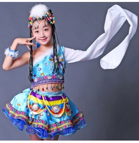Kid Mongolian national dance costumes girls children stage performance competition minority folk dancing robes