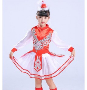Girl's Mongolian folk dance dresses kids children red stage performance minority national Mongolia dancing robes