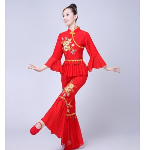 Women's yangko folk dance costumes female lady red competition stage performance fan minority fan dance costumes dresses