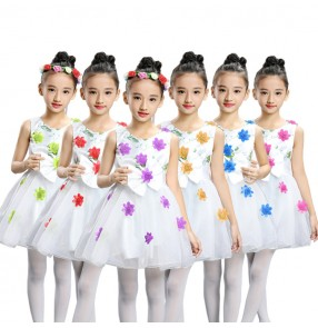 Girls modern dance dresses flower girls kids children wedding party chorus group singers school performance dancing dresses