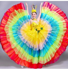 flamenco Rainbow colored  dresses women's female competition modern dance opening dance chorus singers ballroom dresses