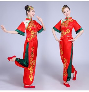 Women's yangko folk dance costumes female Chinese folk fan dance red competition stage performance drummer dancing costumes