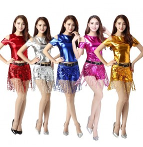 Women's hiphop dance costumes female red gold blue silver leather jazz cheerleaders modern dance stage performance singers dancers dancing outfits costumes