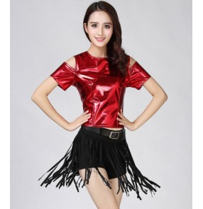 Girls hiphop modern street dance costumes women's female stage performance jazz singers dancers cheer leaders outfits