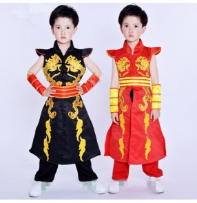 Boy's Chinese Folk dance costumes stage performance yangko drummer dragon competition dancing outfits costumes robes