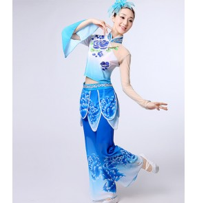 Women's traditional Folk fan dance costumes blue gradient fairy Chinese Yangko folk dance dresses costumes