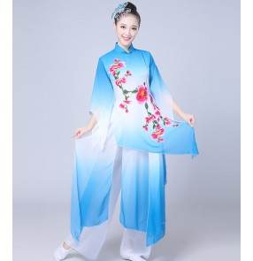 Women's yangko Chinese folk dance costumes fuchsia blue gradient fairy fan umbrella classical traditional cosplay dance dresses