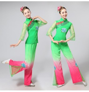 Women's yangko folk dance costumes green fuchsia gradient colored fan classical traditional square dance dresses