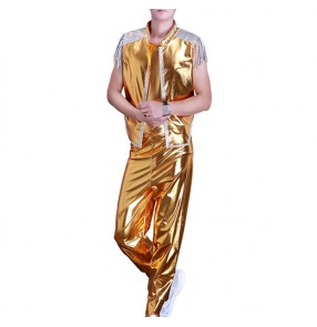 Men's Jazz Hiphop street dance costumes male gold silver competition stage performance cheerleader street modern dance outfits