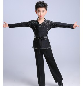 Boy's Ballroom dance tops trousers for kids children competition stage performance diamond black white latin t shirt pants